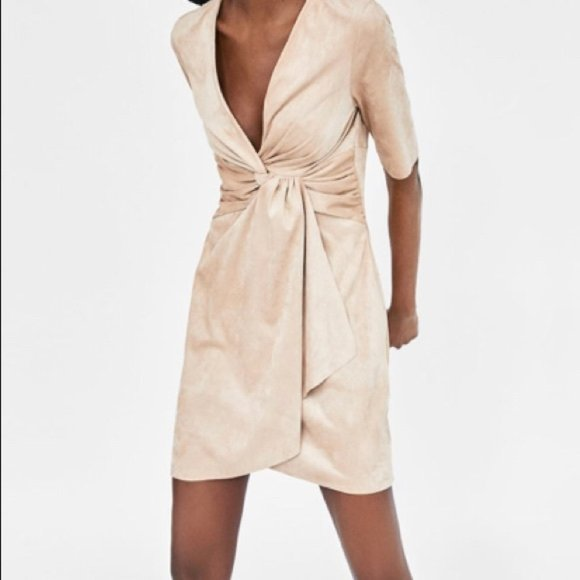 Zara Faux Suede Knot Wrap Dress M